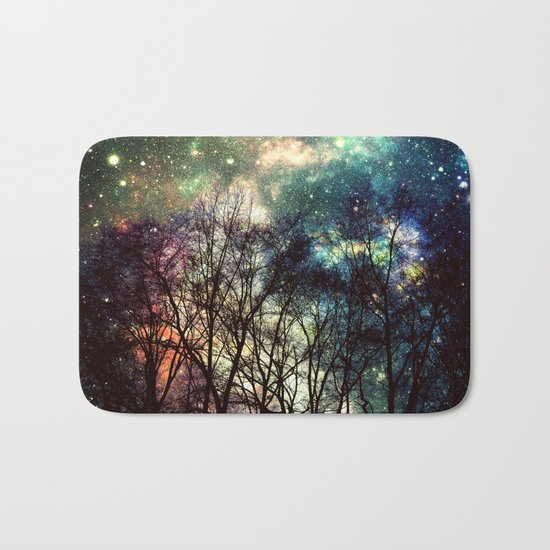 Black Trees Deeply Colorful Space Bath Mat