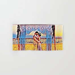 Wedding Day Kiss | Chesapeake Beach, Maryland Hand & Bath Towel