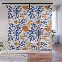 Blue and Orange Floral Feminist Killjoy Print Wall Mural
