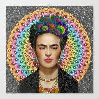 frida kahlo Canvas Prints featuring Frida Kahlo by Luna Portnoi