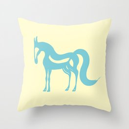 The Essence of a Horse (Cream and Blue) Throw Pillow