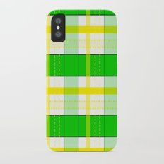 Yellow and Green Plaid iPhone X Slim Case