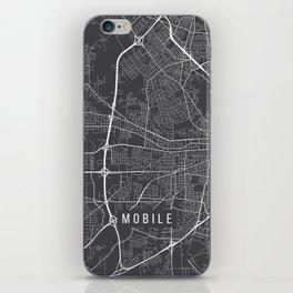 Mobile Map, Alabama USA - Charcoal Portrait iPhone Skin