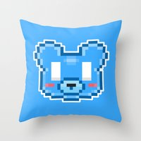 8bit Throw Pillows featuring 8Bit Kawaiikuma by Bear Picnic