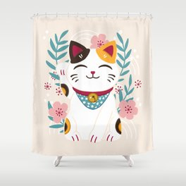 Japanese Lucky Cat with Cherry Blossoms Shower Curtain