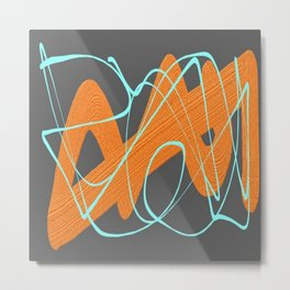 Grey orange and blue Metal Print