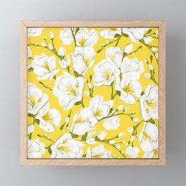 White freesia on a yellow background Framed Mini Art Print