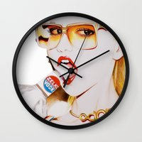 vodka Wall Clocks featuring Feisty Vodka Girl by Liz Slome