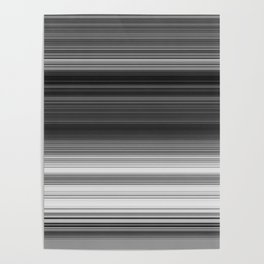 Black White Gray Thin Stripes Poster