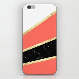 Living Coral, White, Black Marble and Gold Stripes Glam #1 #minimal #decor #art #society6 iPhone Skin