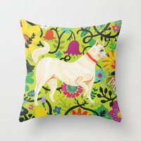 calendars Throw Pillows featuring Spring Jindo Dog by Janna Morton