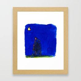bear looking at the moon Framed Art Print