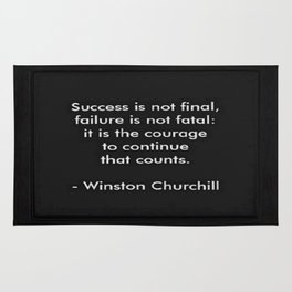 Winston Churchill Quote - Success Is Not Final - Famous Quotes Rug