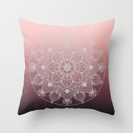 White Lace Flowers and Leaves Floral Mandala on Dusty Rose Pink Throw Pillow