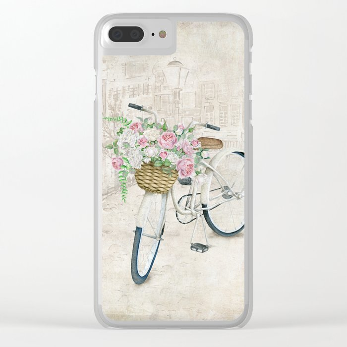 Vintage bicycles with roses basket Clear iPhone Case