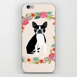 Boston Terrier floral wreath flowers dog breed gifts iPhone Skin