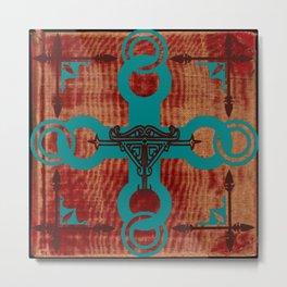 Rustic Turquoise Cross Metal Print