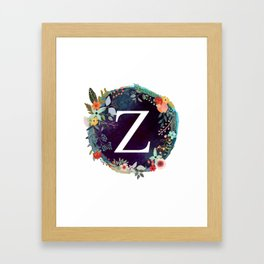 Personalized Monogram Initial Letter Z Floral Wreath Artwork Framed Art Print