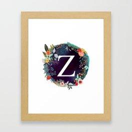 Personalized Monogram Initial Letter Z Floral Wreath Artwork Framed Art Print