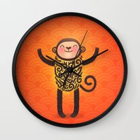 monkey island Wall Clocks featuring Monkey by Anna Alekseeva kostolom3000