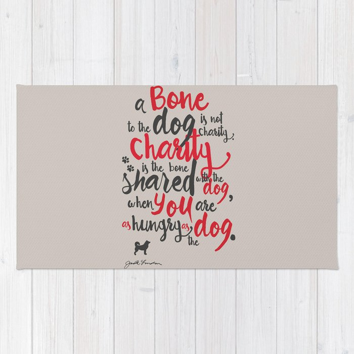 """Jack London on Charity - or """"a bone to the dog"""" Illustration, Poster, motivation, inspiration quote, Rug"""