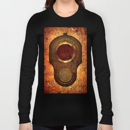 M1911 Colt Pistol Muzzle On Rusted Background Long Sleeve T-shirt