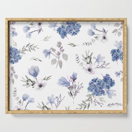 Floral Pattern - Classic Blue and White Serving Tray