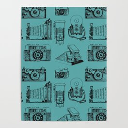 Camera Collection- Turquoise Poster