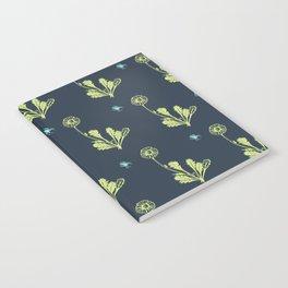 Spider Daisies (green + navy) Notebook