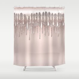 Icy Pink Rose Gold Diamond Dust Glitter Drips Shower Curtain