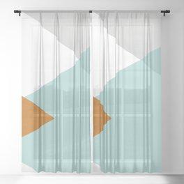 Geometrics - aqua & orange concrete Sheer Curtain