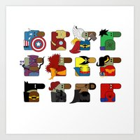 super heroes Art Prints featuring Super Heroes by nobleplatypus
