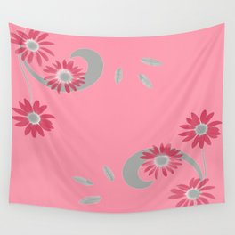 Floral Scroll Design - Strawberry Red Wall Tapestry