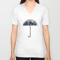 umbrella V-neck T-shirts featuring Space Umbrella by filiskun