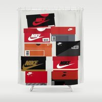 sneaker Shower Curtains featuring SNEAKER HEAD RED by RickART