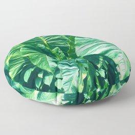 Papua New Guinea Giant Vibrant Green Taro Leaves Floor Pillow