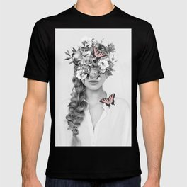 woman with flowers and butterflies 9a T-shirt