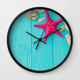 Starfish And Shells Wall Clock