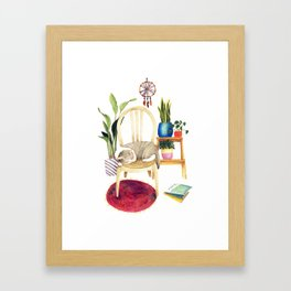 Cat Cozy Room Framed Art Print