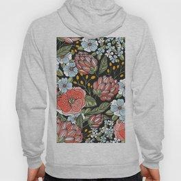 Retro Vintage Floral Arrangement On Black Background Hoody