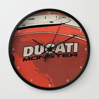 ducati Wall Clocks featuring Ducati Monster tank 02 by Larsson Stevensem