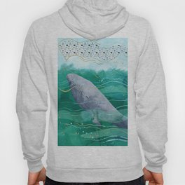 Blue Whale Song in the Emerald Ocean Hoody