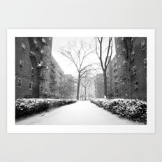 Snowy Day in Queens, New York City Art Print