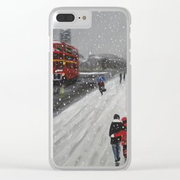 Snow on Westminster Bridge Clear iPhone Case