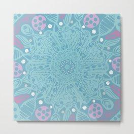 Crystallizing Snowflake Under a Microscope Metal Print