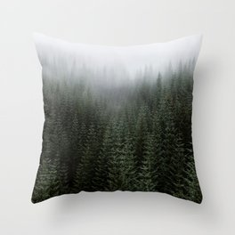 Dizzying Misty Forest Throw Pillow
