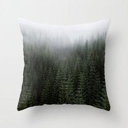 Dizzying Misty Forest Throw Pillow