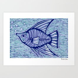 Blue fish Art Print