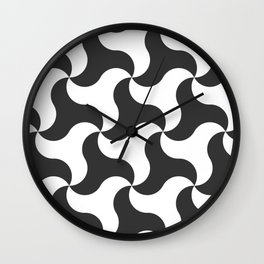 Black & white shark tooth pattern for the beach Wall Clock