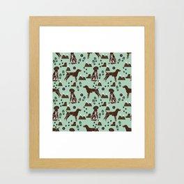 German Shorthair Pointer mountain hiking hiker outdoors camping dog breed Framed Art Print